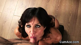 Frisky sex kitten gets cumshot on her face swallowing all th