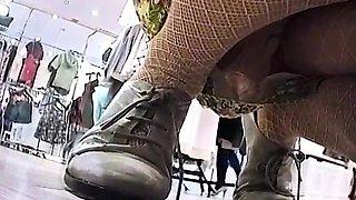 Amateur beauty poSing in nylon stockings