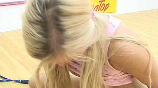 Sweet blonde harlot gives one hell of a blowjob in 69 pose