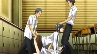 Anime School Student Threesome Sex Scene