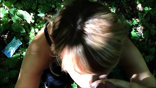 Naughty amateur milf reveals her oral talents in the woods