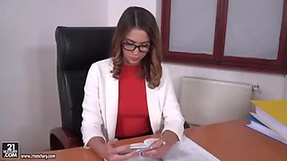 Hot office girl fucked at work