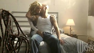 Curly hair blonde in high heels gets her slit tongued and drilled