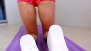 SECRETCRUSH - Oiled Up Teen With Big Boobs Strips Doing Yoga In Gym Clothes