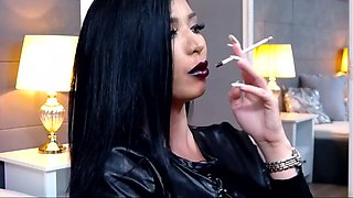 KhandiJanel Dark Lips Long White Nails Smoking