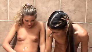 Blonde lesbian sisters playing with her toys