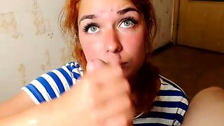 Enticing Russian redhead drives a big dick to orgasm in POV