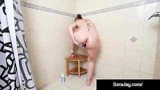 Horny Milf Sara Jay Fucks Herself in Shower After Workout!