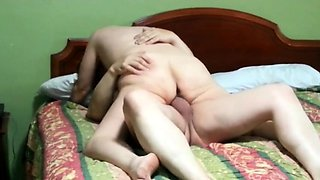 Lustful mature wife has hot sex with her lover on the bed