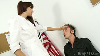 Sexy nurse is fucked by three horny students