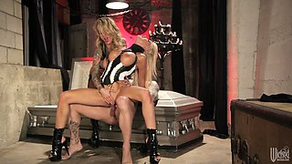 Hot blondes are fucked silly by a big cock in a threesome