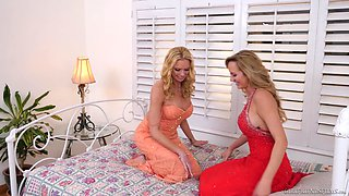 Sweet Brett Rossi and her friend enjoy licking one another's cunts