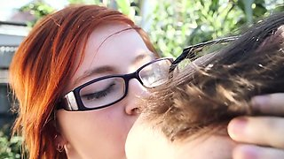 Curvy lesbian pisses and licks her hairy girlfriend