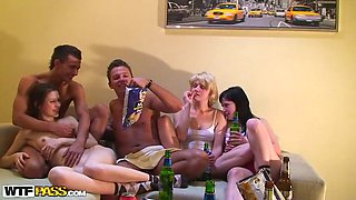 Zealous drunk and slutty chicks are always for a tough group fuck