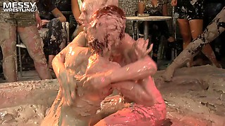 Super hot girl on girl mud wrestling action at it's finest indoors