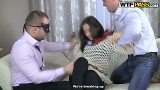 Three brutal studs and one dumpy brunette lassie perform hot x-mas gangbang