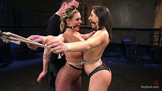 Tied up Phoenix Marie and her bondage girlfriend are punished by one kinky dude
