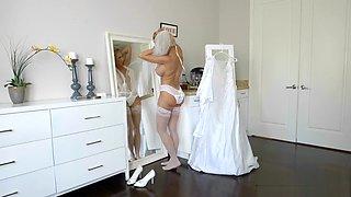 Cougar bride fucks young couple