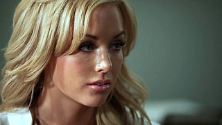 Kayden Kross deepthroats a cock and jumps on it ardently