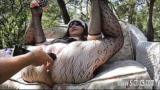 Double fist fucking and dildo fucking her XXL pussy