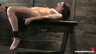 an amazing time with fucking machines for a hot brunette