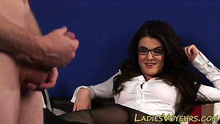 Clothed domme humiliates