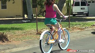 Bike riding cutie is his flexible fuck slut for big cock