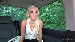 Blonde slut gets picked up and fucked in the car