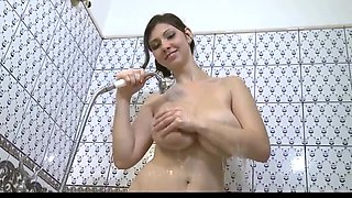 Big tits college girl takes a shower