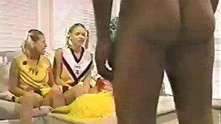 twin cheerleaders raising money - retro