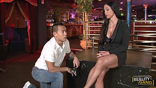 Gorgeous brunette with big boobs gets fucked by Asian guy