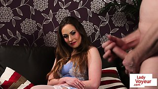 British MILF voyeur instructing guy with JOI