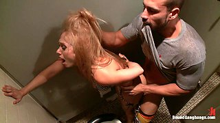 Rough Fucking in the Bathroom for Blonde in Gangbang