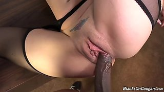 white momma kiki daire gets dped by black dongs on the table