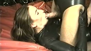 Beautiful brunette babe fucked in latex outfit and sprayed with cum