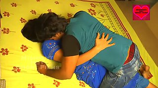 Sexy and beautiful bhabhi in blue saree having hot romance with devar