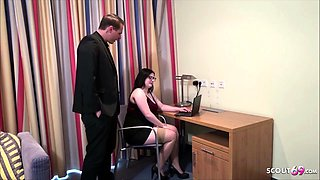 Boss catch 18yr German BBW Glasses Teen  and Fuck at work