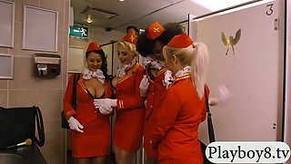 Ebony stewardess fucked by pervert man in public toilet