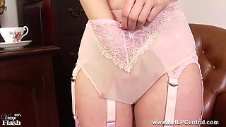 brunette plays with big tits pussy in retro nylons lingerie