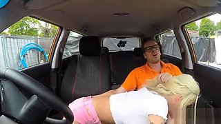 Big boobs blonde Barbie Sins fucked by instructor in the car