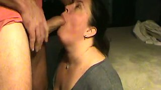 Obedient BBW brunette neighbor enjoys deepthroating my big cock
