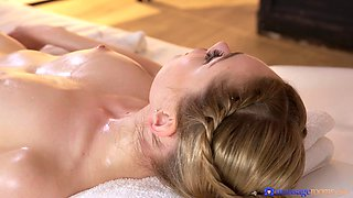 Cutie gets oiled up and drilled on massage table