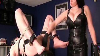Mistress fingers her male slave and makes him cum