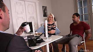 Laela Pryce enjoys a threesome with her boss and a stranger in the office