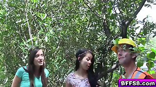 sexy teen bffs fucked with the lumberjack