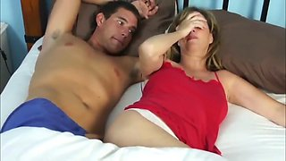 Mom and son go travel and share hotel