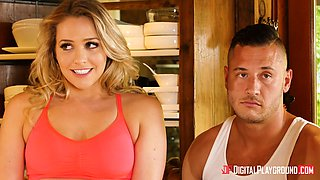 Mia Malkova and Olive Glass fucked by two men in a kitchen