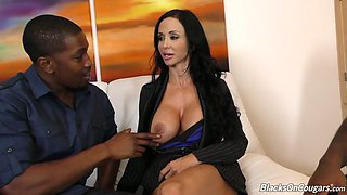 Two sex-hungry black studs drill pussy and anus of mouth watering white milf Jewels Jade