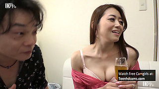 Asian MILF Gets Drunk and Has a Threesome.