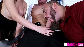 Muscular office manager has bi trio in the conference room